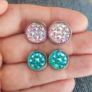 Rhinestone Earrings Set